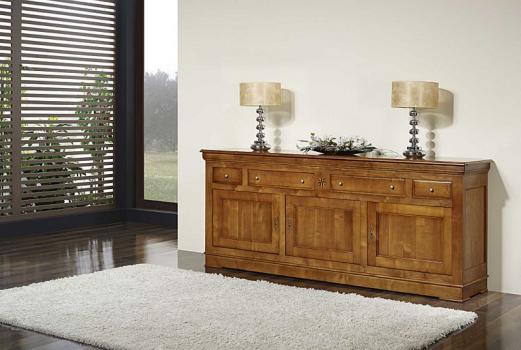 Buffet 3 portes 4 tiroirs   en Merisier Massif de style Louis Philippe