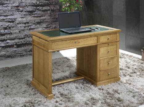 Petit bureau Luc réalisé en chêne de style Louis Philippe Surface d'écriture en moleskine verte.