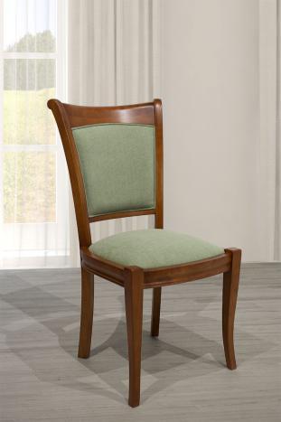 Chaise ine en Merisier Massif de style Louis Philippe Tissu appolo Green