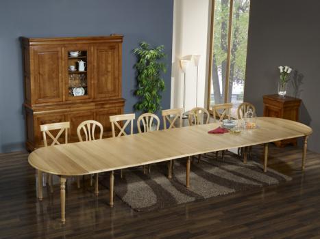 Table ovale à volets Patrice  en Chêne Massif  de style Louis Philippe 135x110 avec 10 pieds 10 allonges