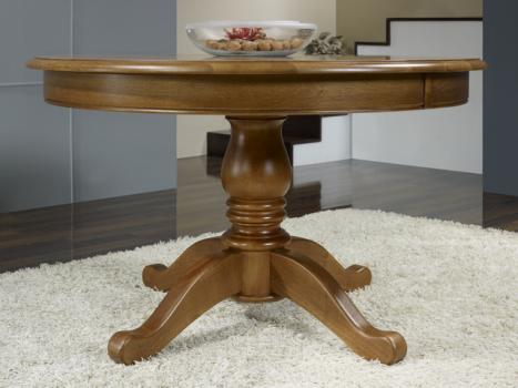 Table ronde pieds central  en Chêne de style Louis Philippe DIAMETRE 110 - 2 ALLONGES DE 40 CM