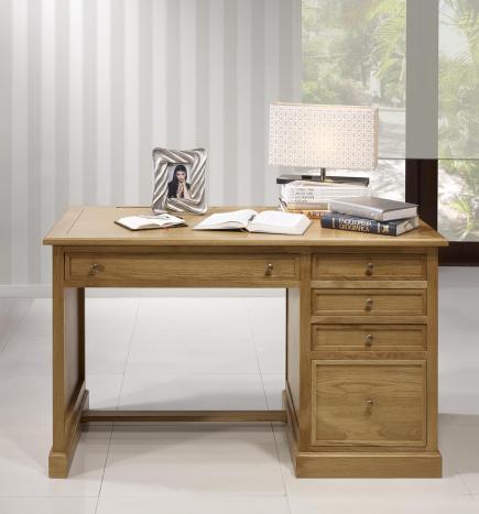 Bureau 5 tiroirs   en Chêne de style Louis Philippe Surface d'écriture Moleskine Li de Vin