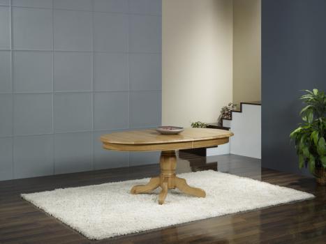 Table Ovale Pied Central  en Chêne Massif de style Louis Philippe 170*110 + 3 allonges de 40 cm