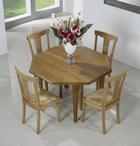 Table à volets octogonale 120x120  en Chêne Massif 6 pieds fuseaux 3 allonges de 40 cm
