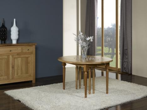 Table ronde à volets 8 pieds  en Chêne Massif de style LOUIS XVI 5 allonges de 40 cm DIAMETRE 120